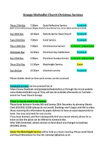 Grange Methodists Christmas Services 2020